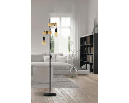 Lampadaire métal/bois 2 ampoules 1665 mm Townshend noir/marron avec interrupteur à cordon
