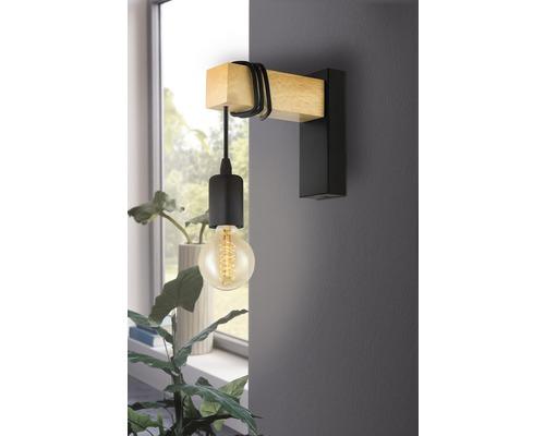 Applique murale acier/bois 1 ampoule hxL 215x65 mm Townshend bois clair/noir