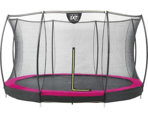 Trampoline EXIT Silhouette Ground avec filet de sécurité Ø 366 cm rose