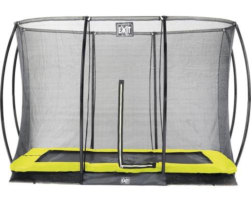 Trampoline EXIT Silhouette Ground avec filet de sécurité 214x305 cm lime