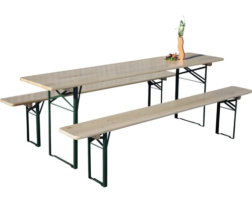 Set table + bancs de brasserie, 50 cm de largeur, bois, 3 pièces, marron
