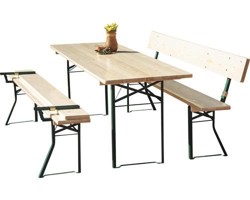 Ensemble table et bancs avec dossier épicéa 3 pièces nature