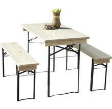 Balkongarnitur Bierzeltgarnitur Tischmaße 110 x 50 x 75 cm Bankmaße 110 x 24,5 x 45 cm aus Fichte 3-teilig natur-thumb-0