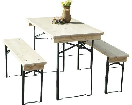 Balkongarnitur Bierzeltgarnitur Tischmaße 110 x 50 x 75 cm Bankmaße 110 x 24,5 x 45 cm aus Fichte 3-teilig natur-0