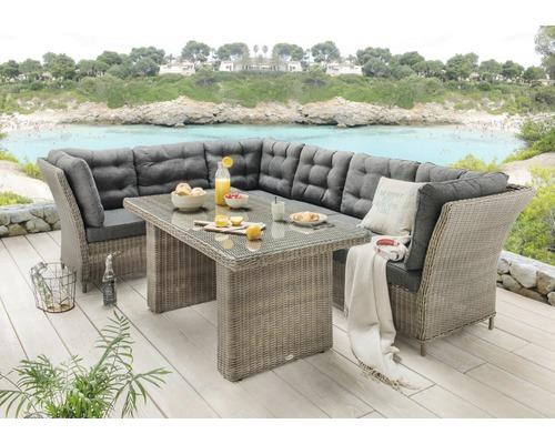 Ensemble de meubles de jardin Destiny Palma Deluxe rotin synthétique 6  places 5 pièces gris