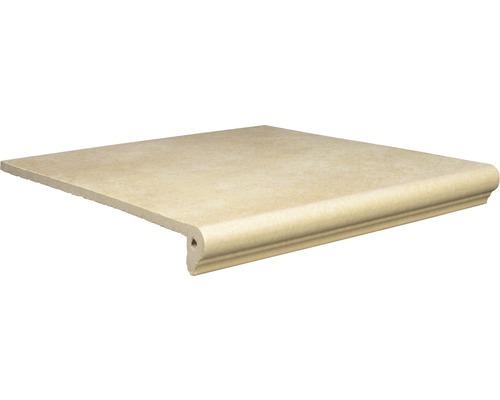 Nez de marche florentin en grès cérame Capra jaune crème 24,5x32 cm
