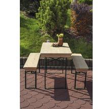 Balkongarnitur Bierzeltgarnitur Tischmaße 110 x 50 x 75 cm Bankmaße 110 x 24,5 x 45 cm aus Fichte 3-teilig natur-thumb-2