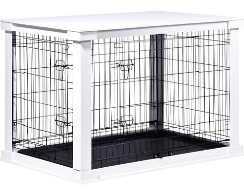 Boîte pour animaux avec surface table et paroi de séparation grillagée taille L 110x72,6x76cm blanc