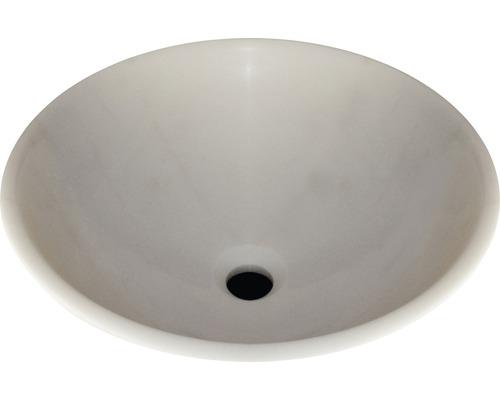 Vasque à poser en pierre naturelle ronde Ø 42 cm blanche polie