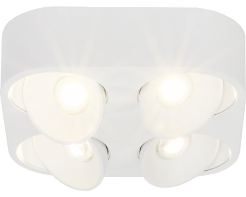 Projecteur de plafond à LED AEG 4x9W 4x850lm 3000K blanc chaud lxlxh 263x263x70mm Leca blanc à 4ampoules à intensité lumineuse variable à partir d''un variateur externe