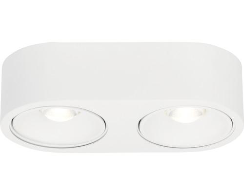 Projecteur de plafond à LED AEG 2x9W 2x850lm 3000K blanc chaud lxlxh 128x263x70mm Leca blanc à 2ampoules à intensité lumineuse variable à partir d''un variateur externe
