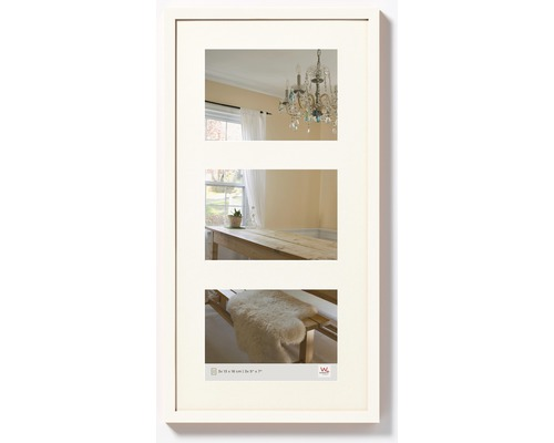 Cadre multivues Peppers 3 photos blanc 27,5x53 cm