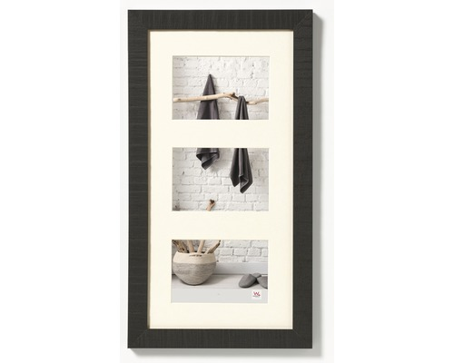 Cadre multivues 3 photos noir 29,9x55 cm