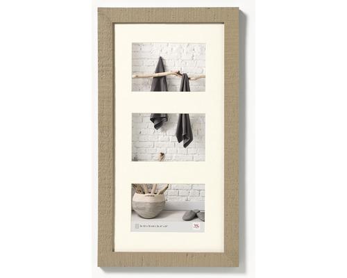 Cadre multivues 3 photos beige 27,5x50,5 cm