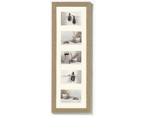 Cadre multivues 5 photos beige 27,5x80,5 cm
