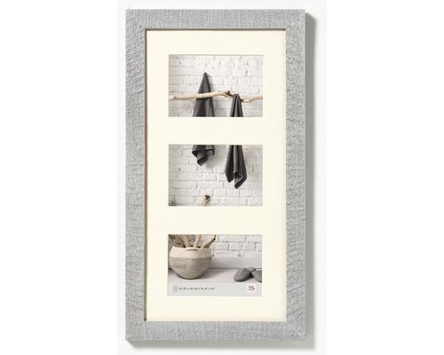 Cadre multivues 3 photos gris clair 28,1x51,1 cm