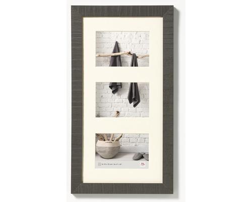 Cadre multivues 3 photos gris 27,5x50,5 cm