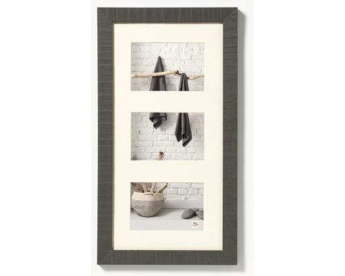 Cadre multivues 3 photos gris 29,9x55 cm