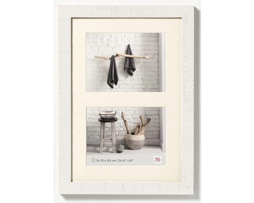 Cadre en bois Home, 2 photos, blanc 15x20 cm