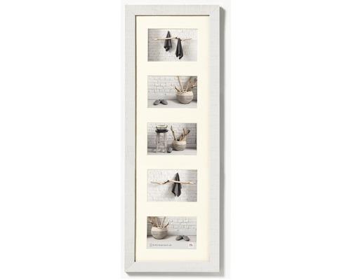 Cadre multivues 5 photos blanc 27,5x80,5 cm