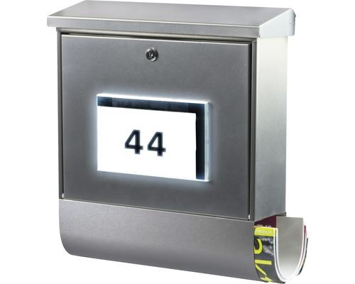 Boîte aux lettres Burg Wächter acier inoxydable lxhxp 377/420/115mm Malaga 4400 NI avec clapet + boîte à journaux