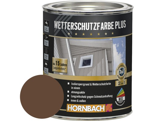 Peinture de protection du bois contre les intempéries Plus marron 750 ml