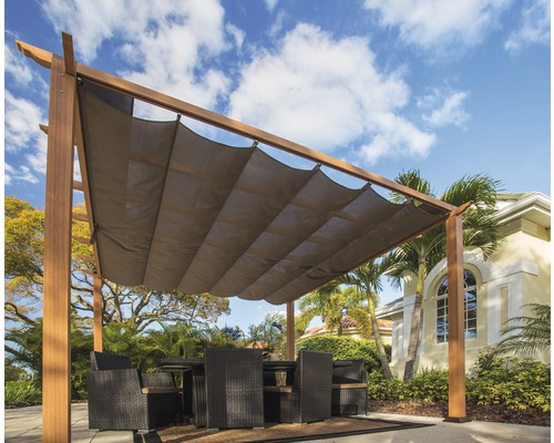 Pergola en aluminium, pavillon Paragon Outdoor Florida 10x10 avec voile d'ombrage réglable 320 x 320 cm aspect bois