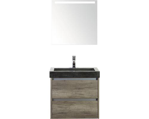 Badmöbel-Set Dante 60 cm mit Natursteinwaschtisch und Spiegel mit LED-Beleuchtung Nebraska Eiche