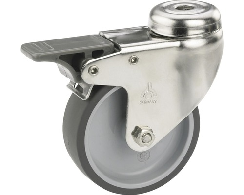 Roulette pivotante pour appareils de transport blocable, jusqu''à 40 kg, 50 x 73 x 18 mm, sans plaque