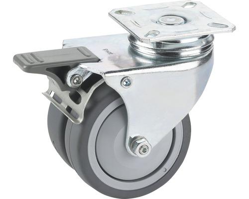 Roulette pivotante double pour appareils de transport, jusqu'à 100 kg, 75 x 101 x 25 mm
