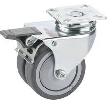 Roulette pivotante pour appareils de transport, blocable avec plaque 60 x 60 mm, jusqu''à 80 kg, 50 x 73 x 18 mm-thumb-0