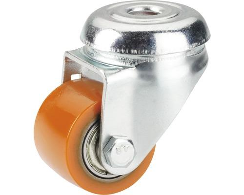 Roulette pour charge lourde PU 35 mm trou central, roulement à billes, PK12