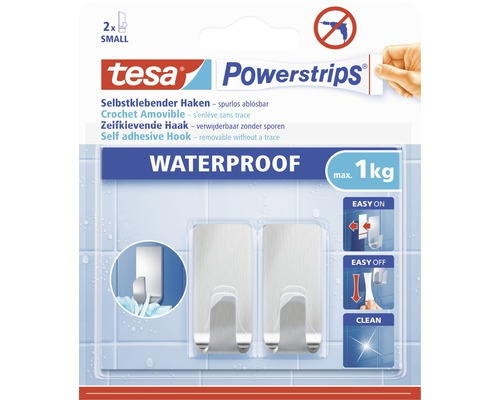 Crochet tesa Powerstrips® Waterproof Small carré acier inoxydable 59777-00000-00