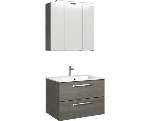 Ensemble de meubles de salle de bains Pelipal Kumba graphite à structure transversale largeur 77 cm 99.77012619