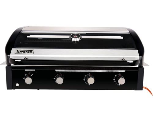 Barbecue à gaz Tenneker® Halo barbecue à gaz TG 4 4 feux encastrable, grille en fonte d''acier, système de plateforme, insert vitré dans le couvercle