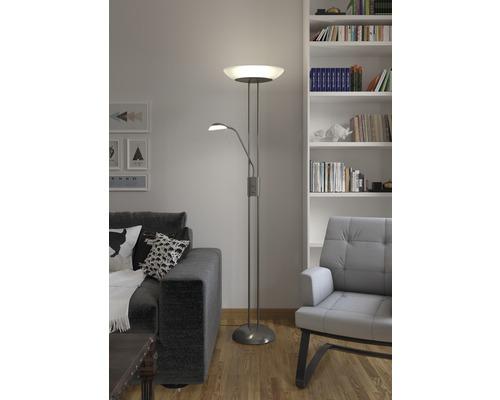 Plafonnier LED avec lampe de lecture à intensité lumineuse variable 23W 2100 lm 3000 K blanc chaud h 1814 mm 2ampoules nickel