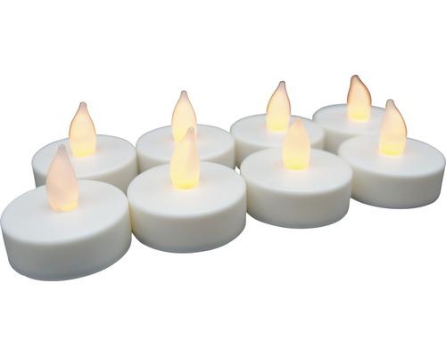 Bougie à chauffe-plat LED Lafiora à piles Ø 4 cm blanc chaud 8 pièces