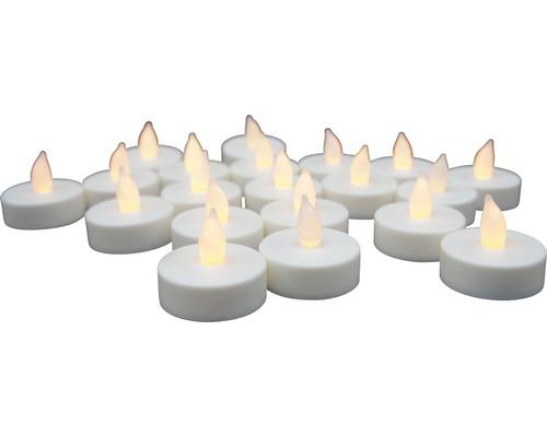 Bougie à chauffe-plat LED Lafiora à piles Ø 4 cm blanc chaud 20 pièces