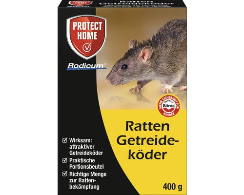 Appât pour rats à base de céréales Protect Home Rodicum 400 g pour boîtes à appâts