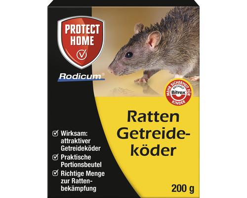 Appât pour rats à base de céréales Protect Home Rodicum 200 g pour boîtes à appâts