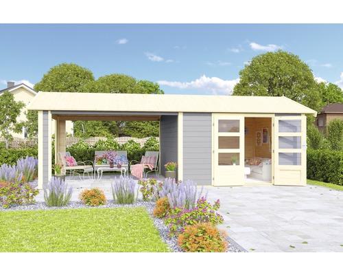 Abri de jardin Karibu She Shed Darling 7 avec toit en appentis et plancher 600x304cm gris terre cuite