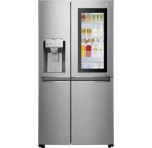 Side by Side Kühlschrank LG GSI961PZAZ BxHxT 91,2 x 179 x 73,8 cm Kühlteil 411 l Gefrierteil 214 l 431 kWh/Jahr edelstahl mit InstaView-Funktion: klopfen und reinschauen-thumb-0