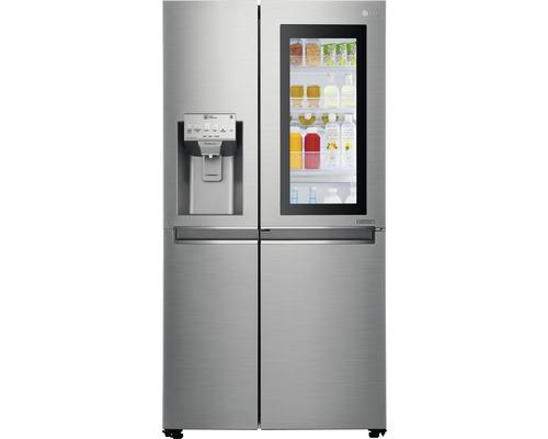 Réfrigérateur américain LG GSI961PZAZ lxhxp 91,2 x 179 x 73,8 cm compartiment de réfrigération 411 l compartiment de congélation 214 l 431 kWh/an acier inoxydable avec fonction InstaView : frapper et regarder