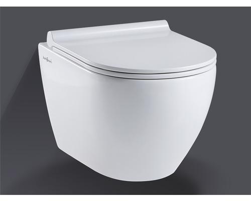 WC suspendu sans rebord Jungborn Donella, blanc, avec abattant WC