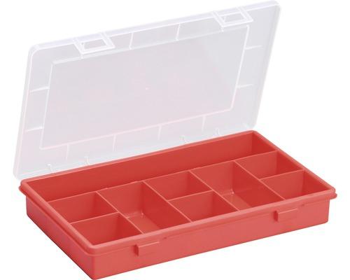 Organisateur boîte à assortiment avec 9 compartiments, rouge