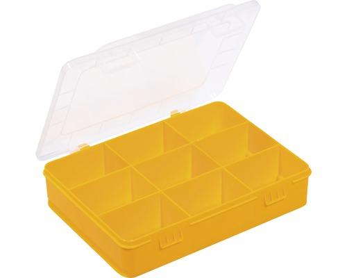 Organisateur boîte à assortiment avec 9 compartiments, jaune