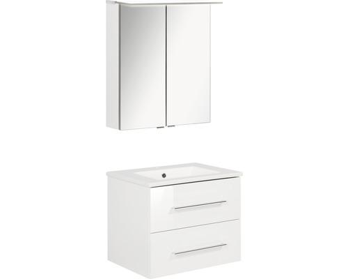 Badmöbel-Set FACKELMANN B.perfekt 60 cm mit Waschtisch und Spiegelschrank mit LED-Beleuchtung Weiß hochglanz