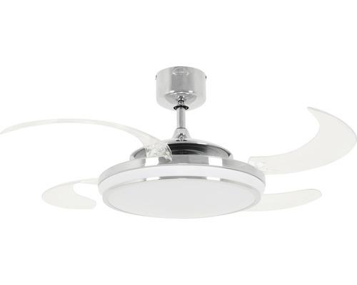 Ventilateur de plafond Fanaway Evo 1 LED Ø 121 cm chrome avec télécommande, pales rabattables, fonction changement de couleur, fonction été + hiver, avec ampoule LED