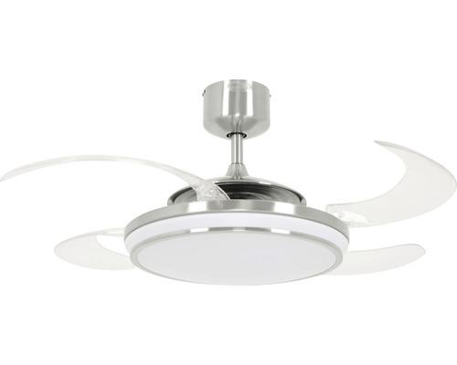Ventilateur de plafond Fanaway Evo 1 LED Ø 121 cm chrome/brossé avec télécommande, pales rabattables, fonction changement de couleur, fonction été + hiver, avec ampoule LED