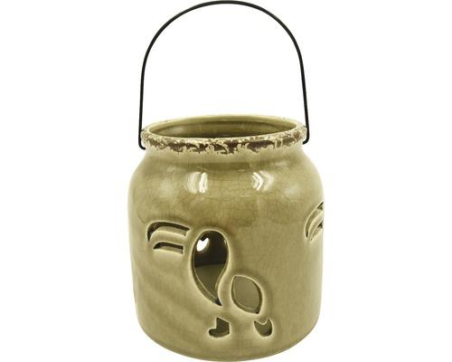Lanterne en céramique-fer Ø13 H13cm beige